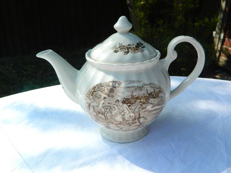 Teapot Brown Transferware Hunting Scene, Ironstone, fluted design. No backstamp, no crazing, chips or cracks, £15 + p&p