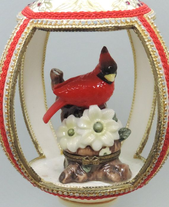 ✔» Red Cardinal in Handcut Ostrich #Egg w Music Box #Faberge #Style Decorated #Egg by http://etsy.me/2angyhc