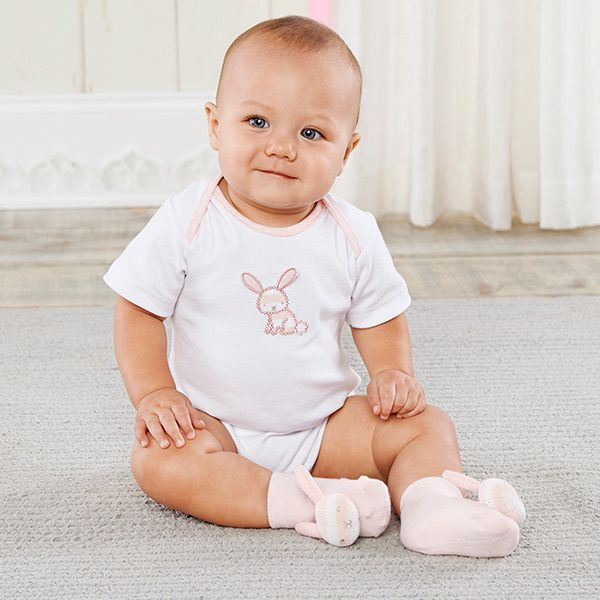 332 best lil ladies baby girl gifts images on pinterest a snuggly bunny bodysuit and bunny rattlesocks are cute picks for easter or spring negle Images