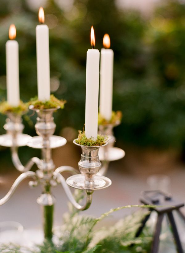 Silver Candelabra With Moss | photography by http://www.jenfariello.com/
