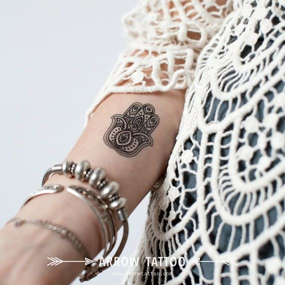 Boho Tattoo fatima hamsa Hand Pattern Tattoo by ArrowTattoo
