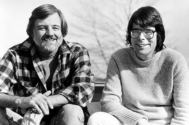 George A. Romero and Stephen King on the set of Creepshow.