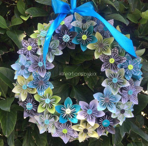 Beach Hut  Origami/Kusudama Paper Flower Wreath by kreationsbykia