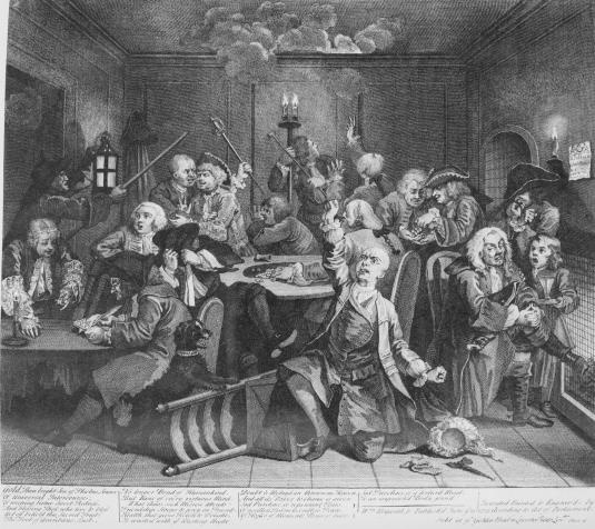 A Rake's Progress Plate 6 (Scene in a Gaming House) - William Hogarth    A Rake's Progress, a series of eight etchings by English engraver and painter William Hogarth, was printed as social commentary for the 18th-century audience. The series focuses on the demise of Tom Rakewell, the heir of a prosperous merchant, who squanders his inheritance on an extravagant lifestyle.    In the sixth plate of this series Hogarth makes clear that Tom Rakewell will never learn his lesson. He has returned…