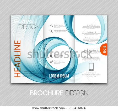 Brochure template design with wave