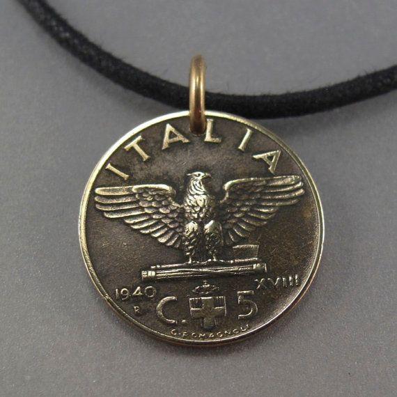 ITALIAN COIN necklace. ITALY coin pendant. bird by PartsForYou.
