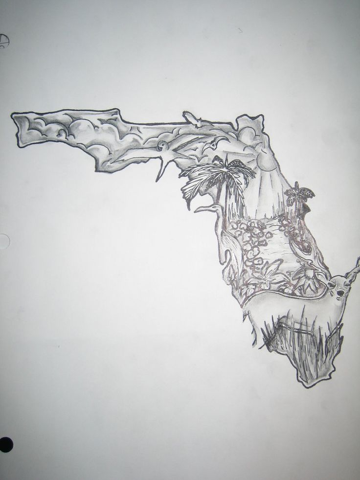 Florida Tattoo design by ~ArtbySterl on deviantART  Substitute the deer with an alligator// I would so want something like this!! with the Keys added, and dolphone somewhere near Panama City. <3LP