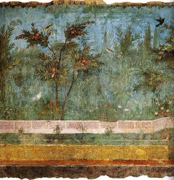 Love this mural by Livia Drusilla. The underground garden room was discovered in 1863 and the frescoes removed in 1955 to the National Museum in Rome.