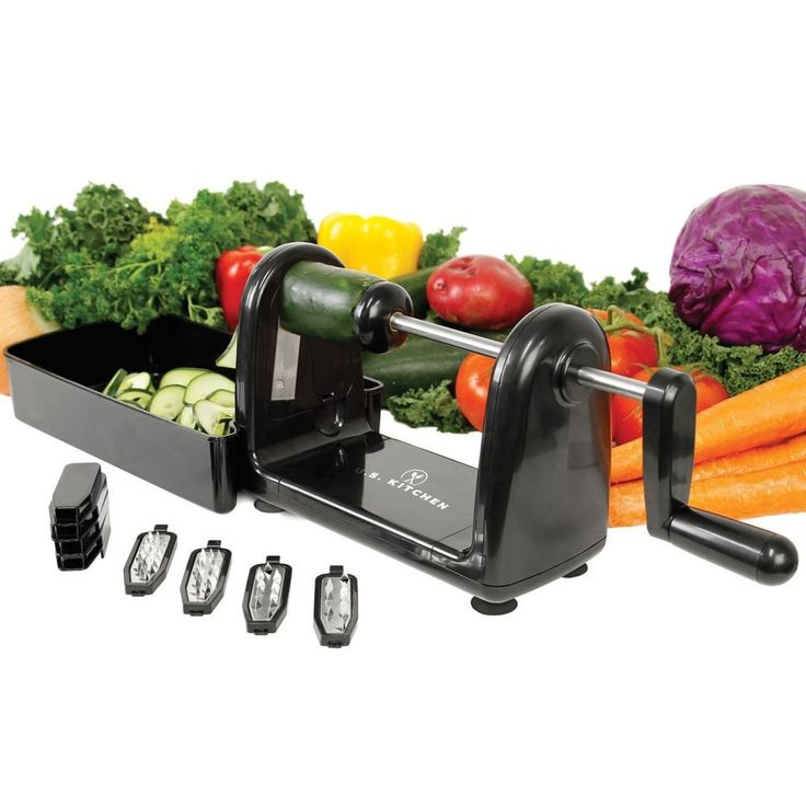 Spiral Vegetable Cutter Spiralizer Stainless Steel Slicer Blades Spaghetti Fruit #KitchenSupply