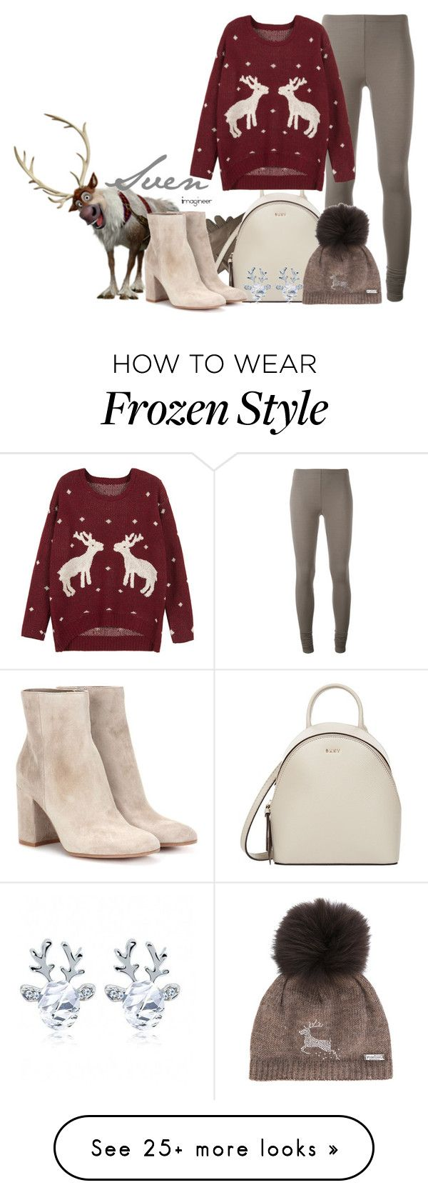 """Sven (Frozen)"" by claucrasoda on Polyvore featuring Carolina Herrera, Rick Owens Lilies, DKNY, WithChic, Gianvito Rossi, Norton, christmassweater and disneychristmas"
