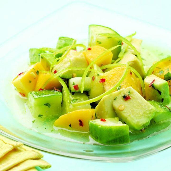 This tropical cucumber, mango & avocado salad has us craving summer.