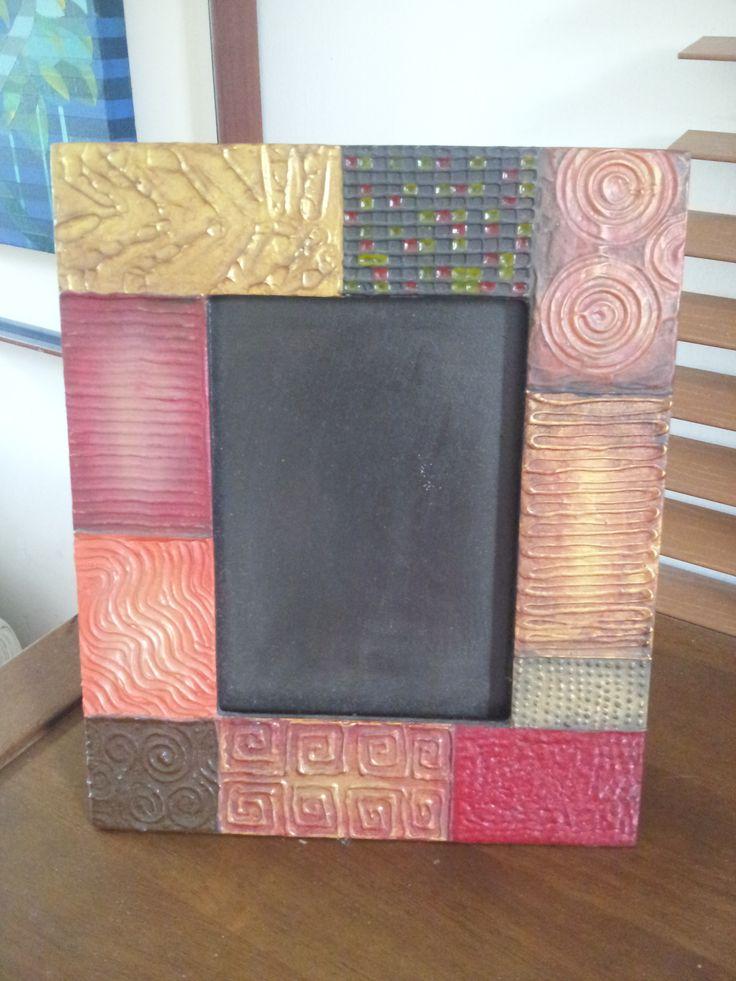 Porta retrato con técnica de texturizado y pinturas metalizadas