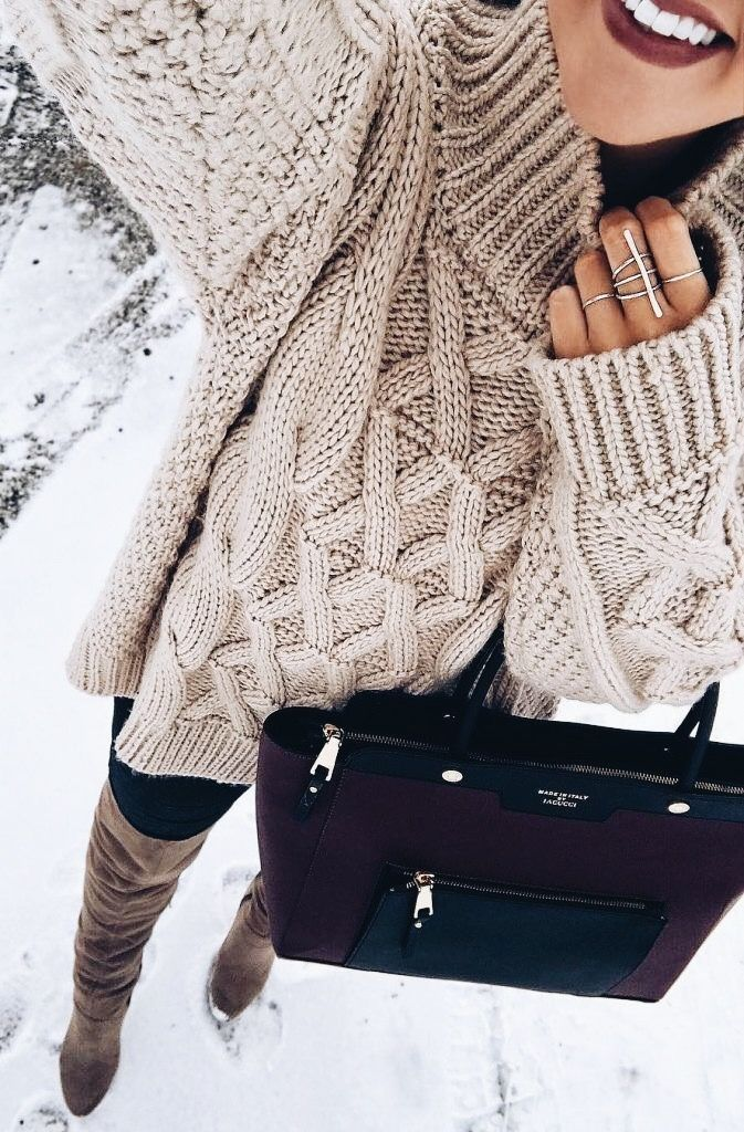 Cute winter outfit ideas for college girls, chunky knit cream white sweater leggings and boots