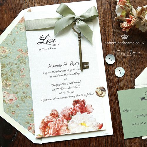 Love is the key wedding invitation.Gorgeous floral prints, together with romantic calligraphy have been put together with a satin ribbon bow and a vintage looking key to send out the big words: LOVE IS THE KEY! Price starts from £4.50