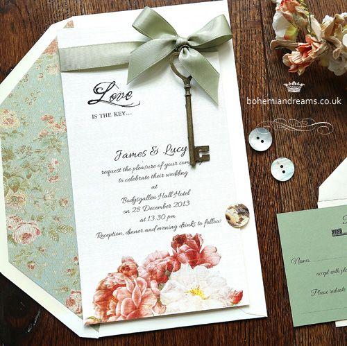 Love is the key wedding invitation www.bohemiandreams.co.uk