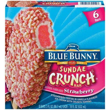 Blue Bunny: Sundae Crunch Bars Strawberry 3.0 Oz 6 Ct Carton Ice Cream Bar, 6 Ct