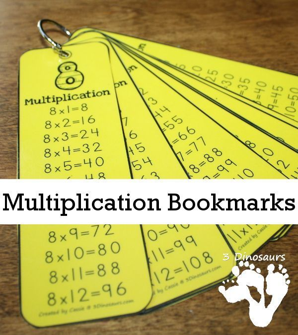 Free Multiplication Bookmarks - numbers 1 through 12