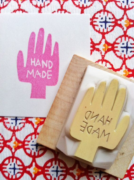 Handmade rubber stamp | hand carved stamp | diy business packaging & gift wrapping | gift for makersMandi • Making Nice in the Midwest