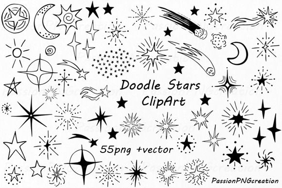 Doodle Stars Clipart by PassionPNGcreation on @creativemarket