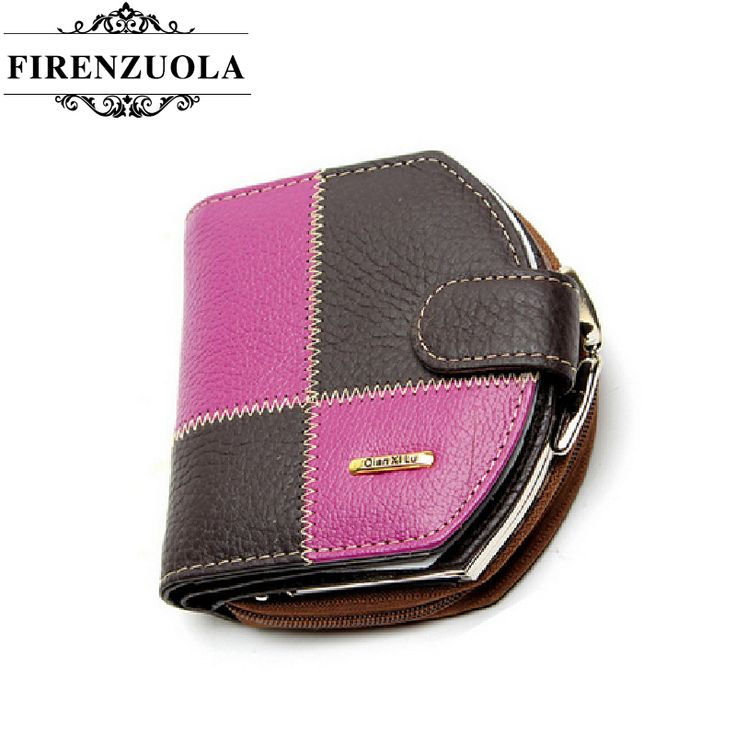 Firenzuola New Fashion Women Purse Plaid Stitching Leather Ladies Wallet Female Short Women's Wallets  #135