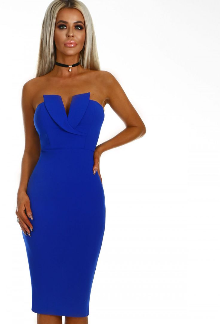 All Yours Cobalt Blue Plunge Strapless Midi Dress | Pink Boutique