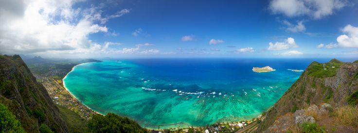 A panoramic view of the East side of O'ahu, Hawaii, USA