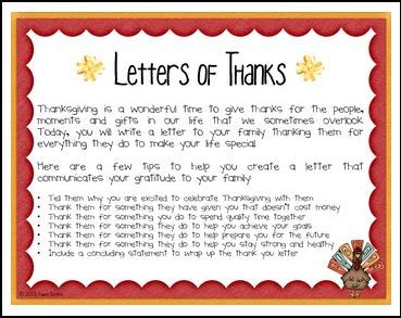 "FREE LANGUAGE ARTS LESSON - ""Letters of Thanks - A Thanksgiving Writing Activity"" - Go to The Best of Teacher Entrepreneurs for this and hundreds of free lessons. 2nd - 5th Grade  #FreeLesson    #LanguageArts    #Thanksgiving   http://www.thebestofteacherentrepreneurs.net/2015/10/free-language-arts-lesson-letters-of.html"