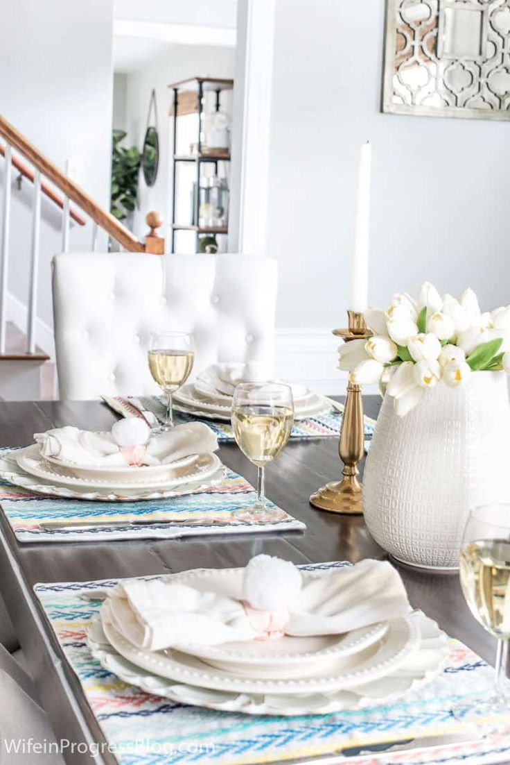 Simple But Elegant Easter Tablescape With Diy Bunny Tail Napkin Rings Jennakateathome