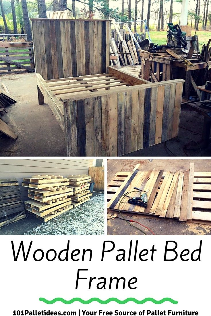 Wooden Pallet Bed Frame | 101 Pallet Ideas