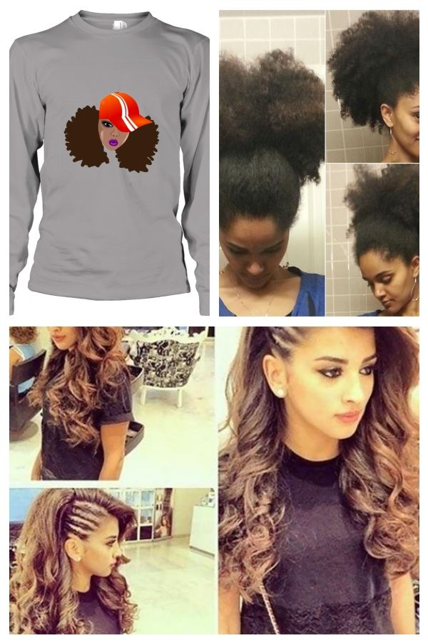 Schwarze Frau Mit Naturlichen Haaren Afro Puffs T Shirt Langarm