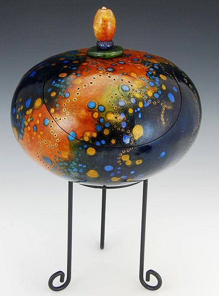Blue Speckle With Jade Hand Carved and Painted Gourd Height 6""