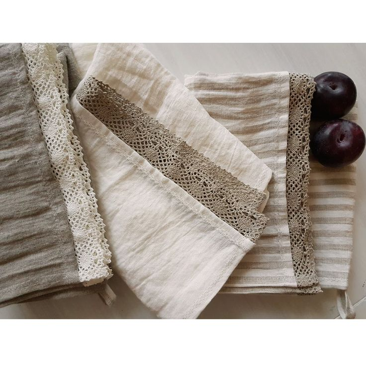 3 luxury pure organic linen kitchen towels with linen lace, stonewashed eco linen dish / hand towels by DejavuLinen on Etsy