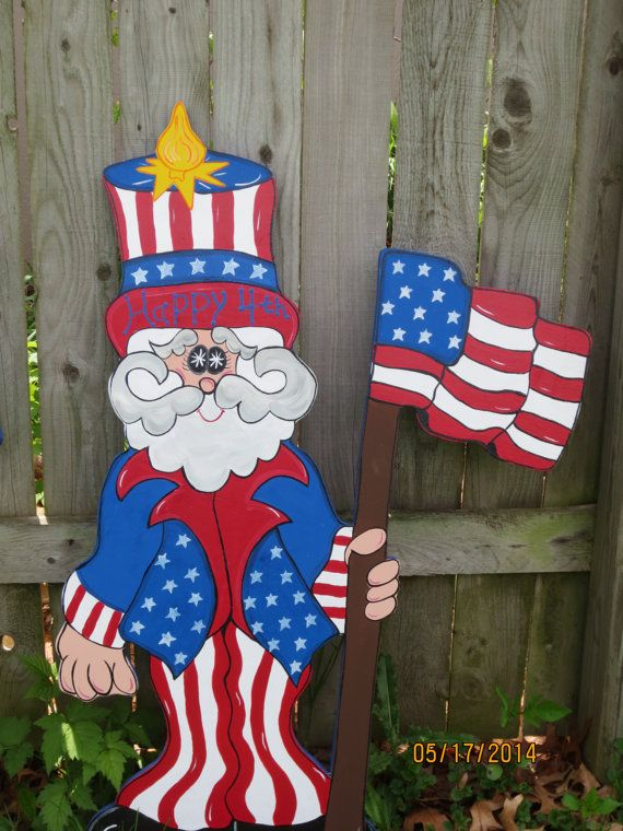 Uncle Sammy 4th Of July Decor Patriotic Wood Outdoor Yard