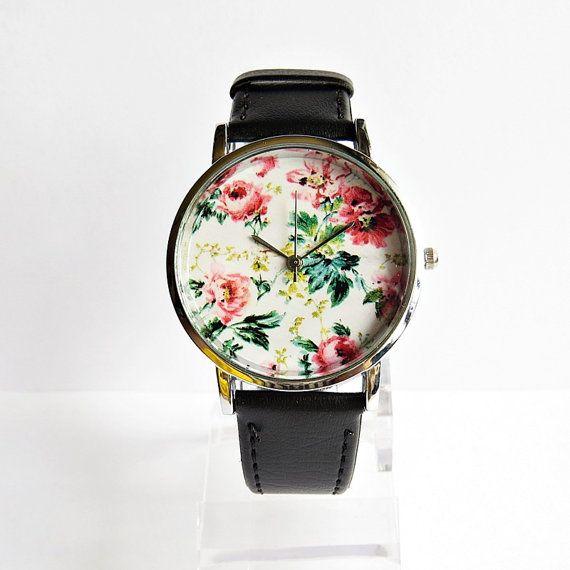 Floral Watch, Vintage Style Leather Watch, Women Watches, Unisex Watch, Boyfriend Watch, Silver Case , Black, on Etsy, 202,43 Kč