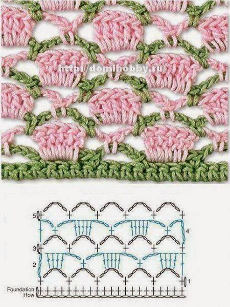 Mooi haaksteekje!   Zeker ééntje om uit te proberen ;-)   (pinterest)     ***********     Pretty crochetstitch!   I will have to try th...