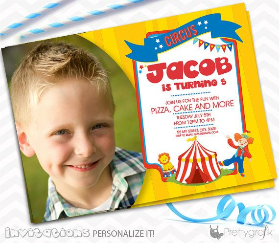Circus party Invitations personalized party by PrettygrafikGifts #custompartyinvitations #circusinvitations #kidspartyinvitations