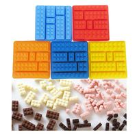 Pastel de silicona moldes de construcción ladrillos Lego Robot molde del Chocolate del silicón bandeja