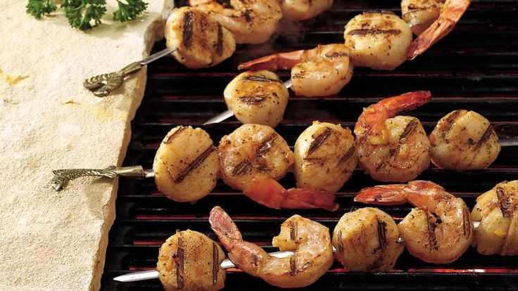 A filling sea food recipe for dinner tonight?  Then check out these grilled scallops and shrimp kabobs - brushed with a spicy butter mix.
