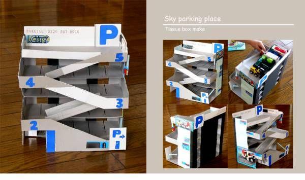トミカの立体駐車場は ティッシュ箱製 思いついたら 作りたくなって ティッシュ箱 手作り おもちゃ ダンボール 立体駐車場