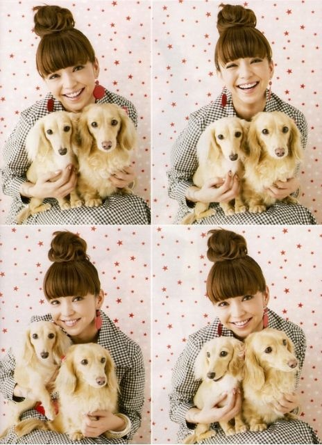 Namie Amuro with her dogs, Koto and Gatchan.