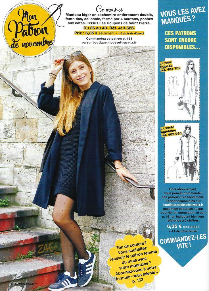 MODES & TRAVAUX - Manteau laine et cachemire Les Coupons de Saint Pierre