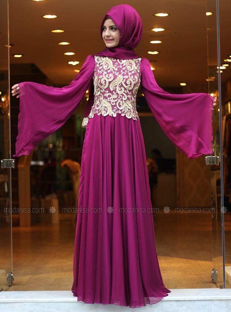 Вышитые шифоновое вечернее платье - фуксия - Пинар-Шамс