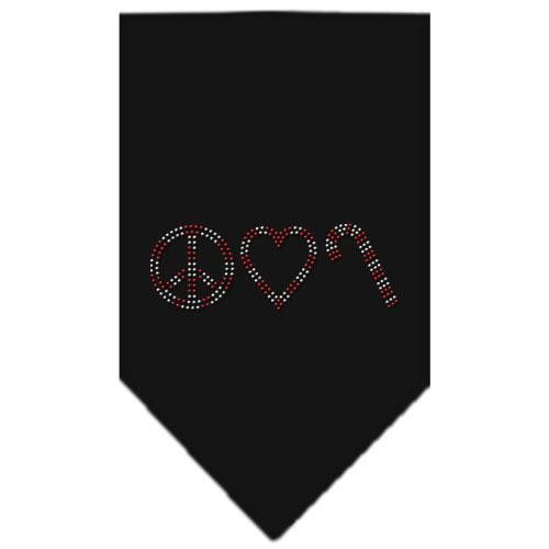 Peace Love Candy Cane Rhinestone Bandana Black Large