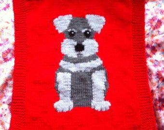 Schnauzer Puppy Blanket, knitting pattern | Chunky ...