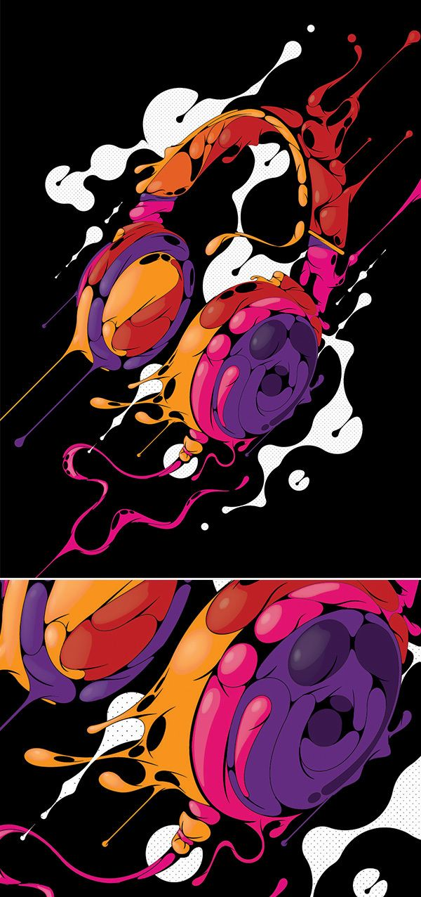 "Personal Work 2013 by blindSALIDA , via Behance At first this image creeped me out a little bit, but after looking at it harder I've come to appreciate the color scheme and style of the 3D, ""jelly-like"" shapes that come together to form headphones."