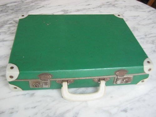 Retro Globite-Style Green Briefcase for papers or laptop