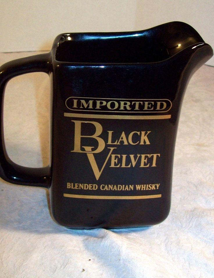BLACK VELVET, pub jug ,water ,pitcher ,barware ,vintage, bar, whisky ,Canadian, whiskey ,advertising ,bottle service by GraniteWood on Etsy
