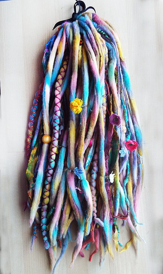 Custom Dyed Wool TieDyed Dreadlock Fall with von PurpleFinchStore, $230.00