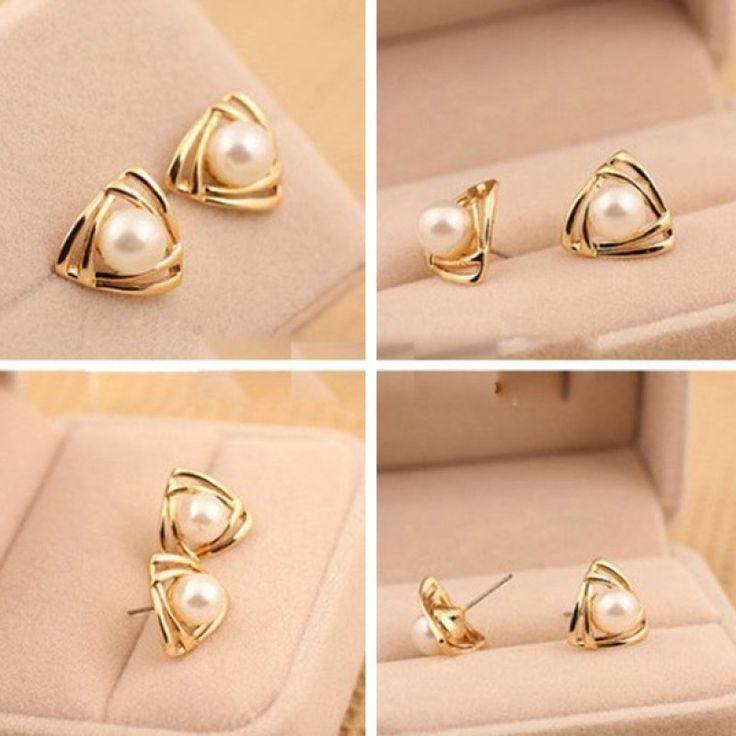 Everyone wants to look beautiful. A woman with stud earrings often looks like an angel. A gold-white simulated pearl stud earrings with its golden color and use of pearl material can give you a look of a seraph. It has white in the middle and golden color