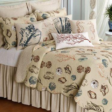 histoire de la mer coastal seashell quilt bedding
